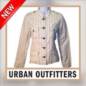 🆕UO Pink/Cream Linen Blend Striped Jacket M